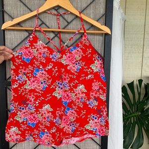 Forever 21 Red Blue Floral T Cross Back Small